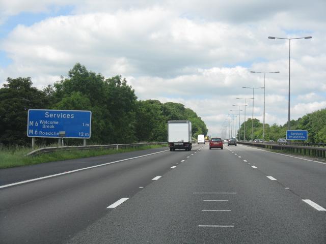 M6 motorway - 1 mile to Keele services