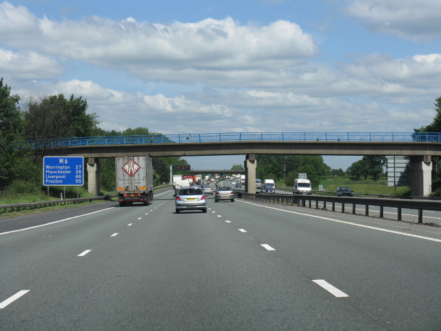 M6 motorway - route confirmatory sign north of junction 16