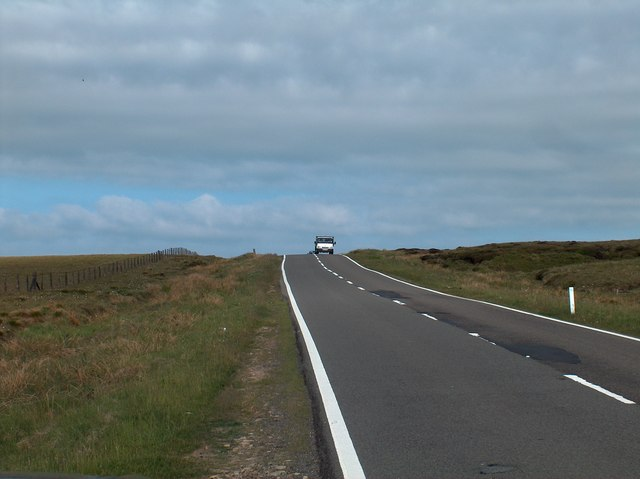 View west along A57 at Snake Pass Summit