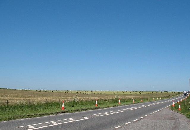 A303 on Salisbury Plain near Stonehenge