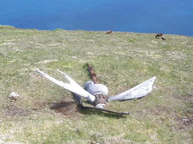 Remains of crashed aeroplane on the slopes of Conachair