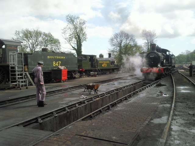 Outside the engine shed at Sheffield Park station