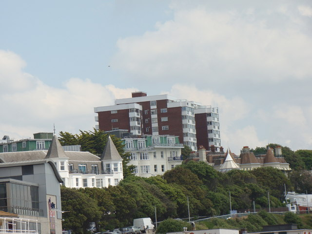 Flats on Russell Coates Road, viewed from the beach