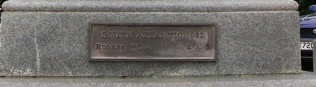 A panel of the Pwllheli War Memorial to commemorate A/Sgt . W.J.Hughes, SAS