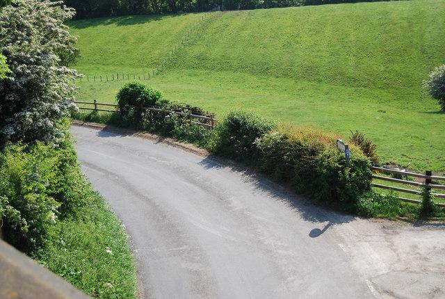 Larpool Lane below the old railway