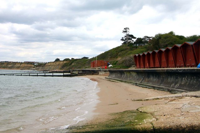 Beach huts on Colwell Bay