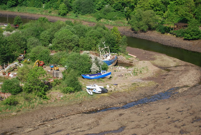 Boats grounded by the River Esk