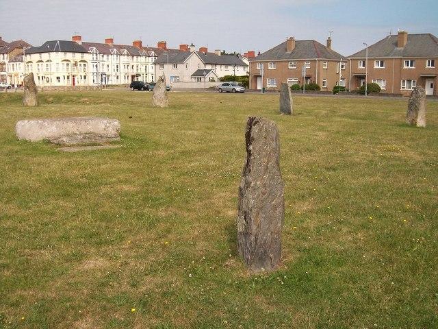 The Maen Llog and Gorsedd stones at Marian y De, Pwllheli