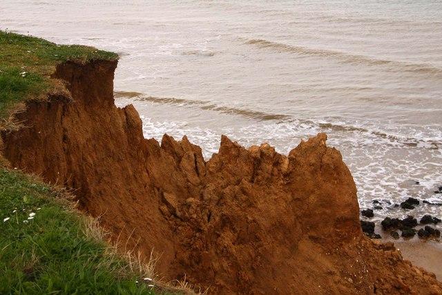 Crumbling cliff on Compton Bay