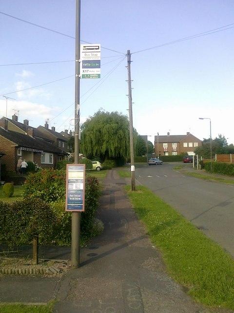 Bus stop on Priorway Avenue, Borrowash
