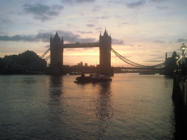 Autumn sunrise over Tower Bridge