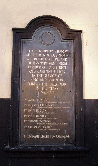 Condorrat War Memorial plaque