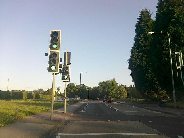 Traffic lights on Toton Lane
