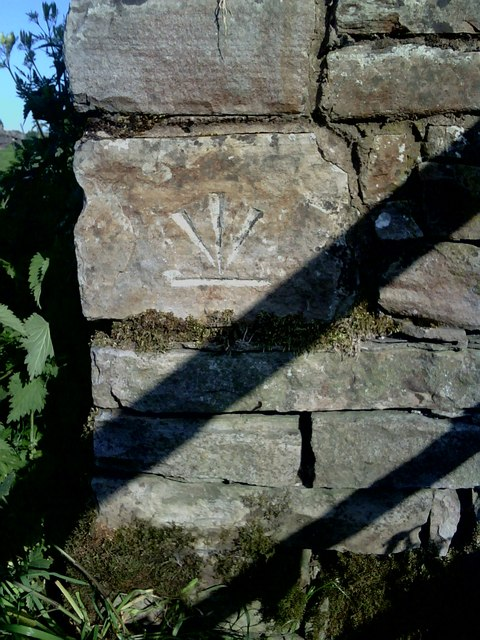 Benchmark on wall on A684 near Pry House