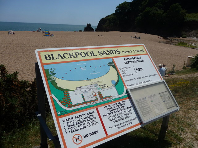 Blackpool Sands : Beach Information Sign