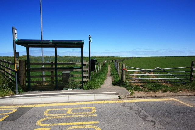 Bus stop and footpath , Marske-by-the-Sea