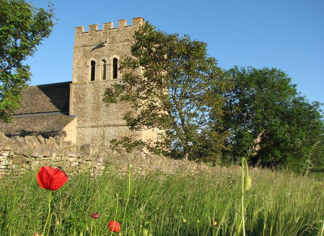 Tixover: St Luke - tower and poppies