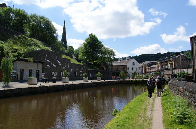 The Rochdale Canal in the centre of Todmorden