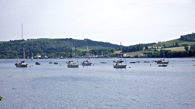 Yachts moored on the Gare Loch north of Rhu