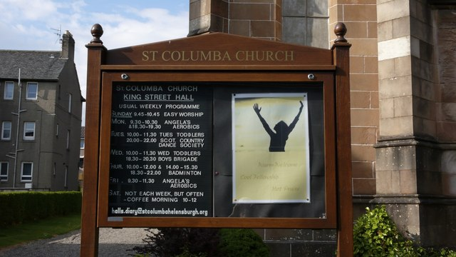 Notice board of social events - St Columba Church, Helensburgh