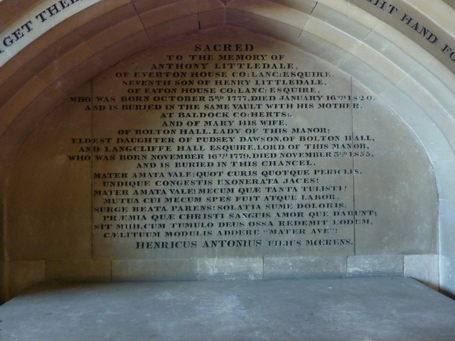 St Peter and St Paul's Church, Bolton-by-Bowland, Inscription