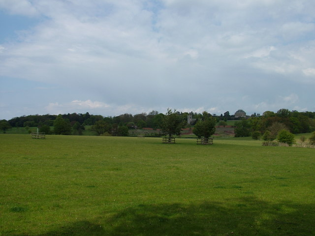 Distant view of Ickworth House and church