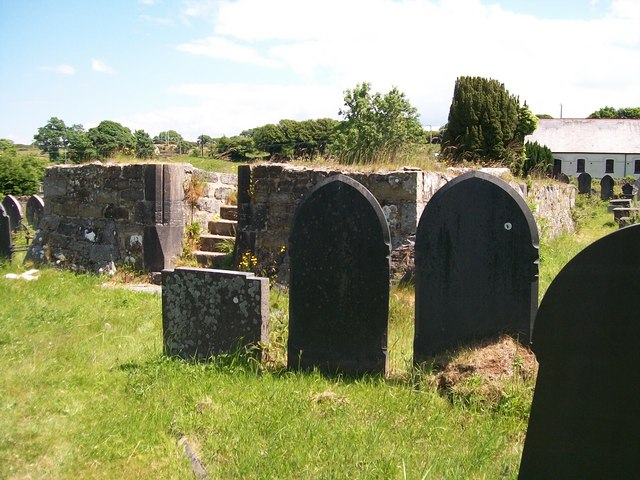The remains of the former St Denio Church at Pwllheli Cemetery