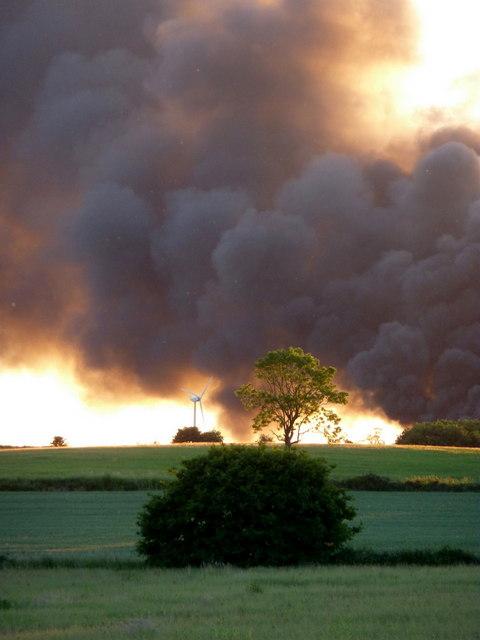 Smoke rising from Plumtree Farm industrial estate