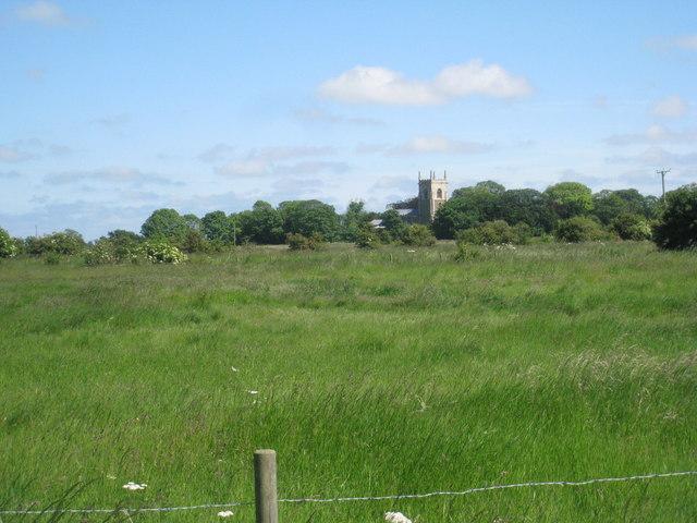 Across the fields to Croft church