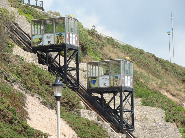 Side view of cliff lift