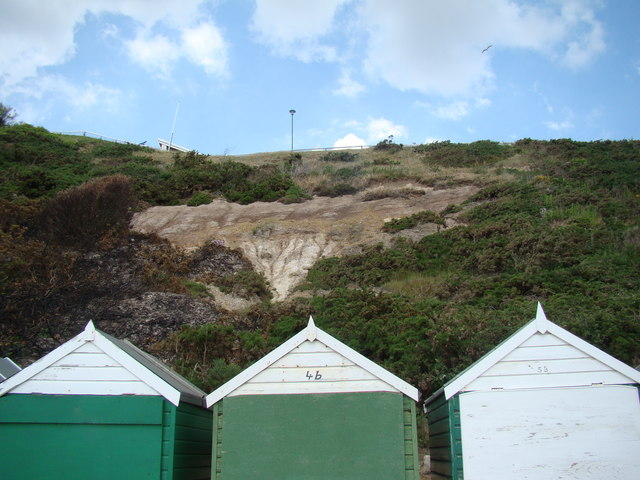 Evidence of cliff slumping above the beach huts