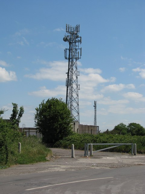 Entrance to communication mast complex in Colehouse Lane
