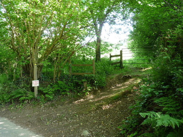 A footpath near the driveway to Spreacombe Manor