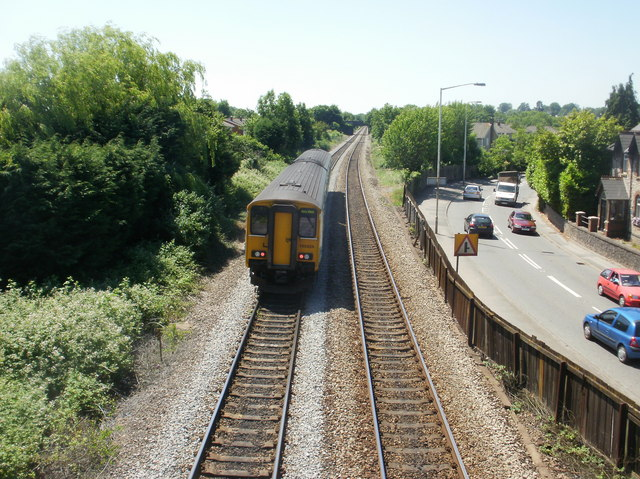 The view SW from Eastbrook railway station footbridge