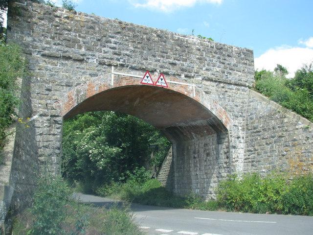 Disused railway bridge spans road at Bawdrip