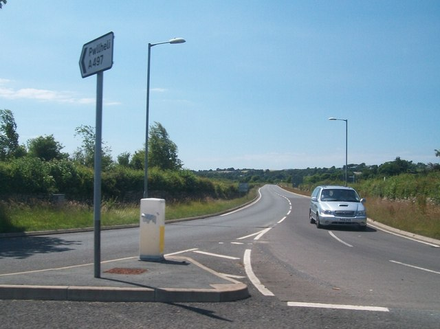 View west along the A497 from the eastern turnoff for Abererch