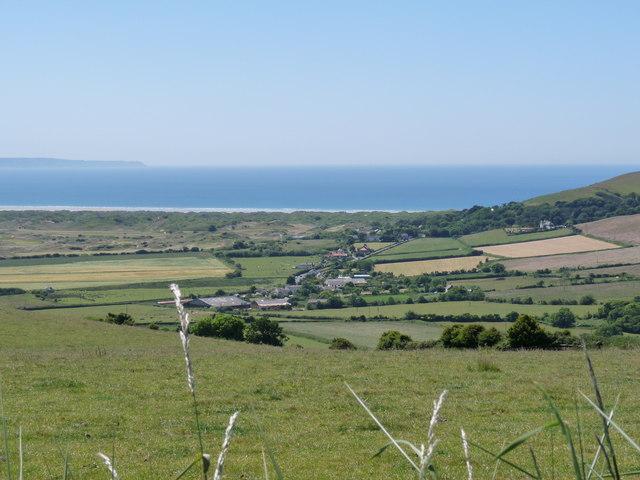 The view across North Lobb, the B3231 Saunton Road and Saunton Sands towards Bideford Bay