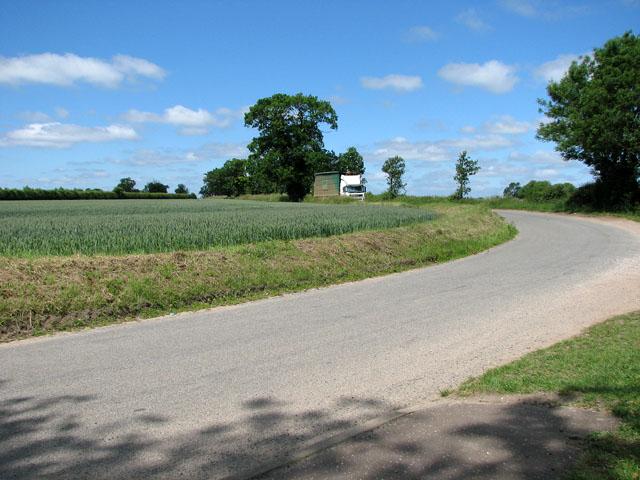 Lane past St Michael's church, Hockering