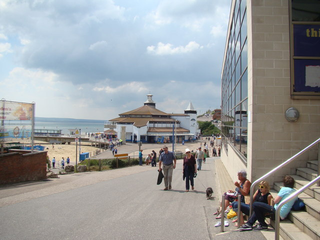 View of seafront shops from the bottom of the steps to the KFC and IMAX cinema complex