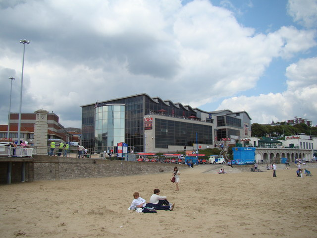 View of the KFC and IMAX cinema complex from the beach