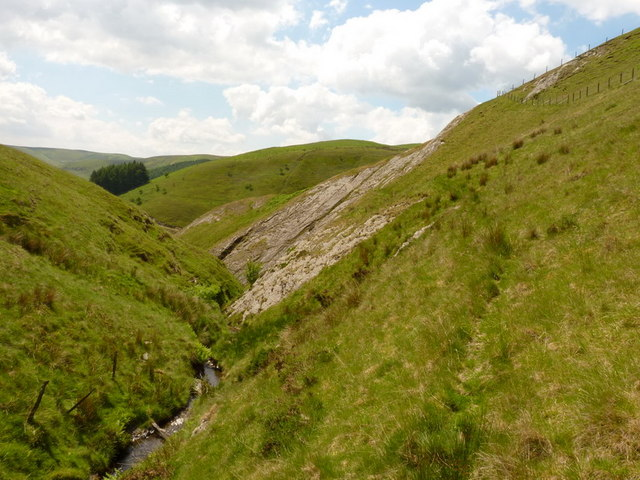 Steep rock slabs on the valley side