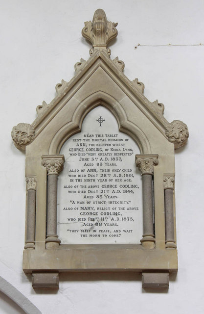 St Mary, West Winch, Norfolk - Wall monument