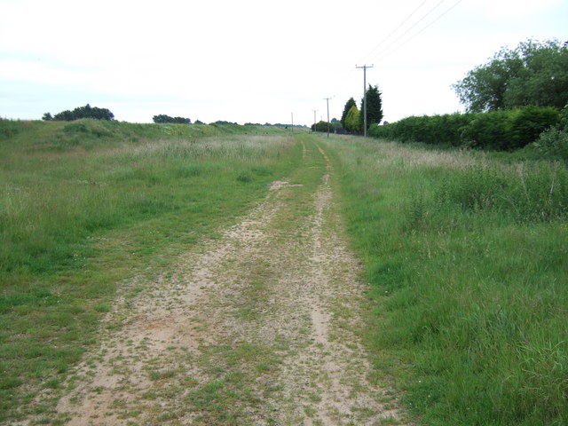 Route of old railway line near Wisbech