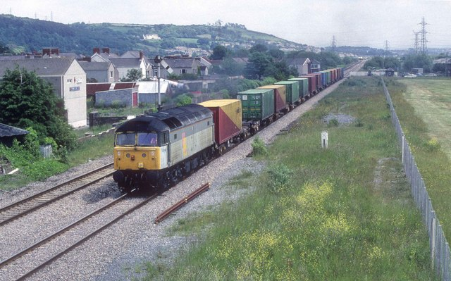 Freight train approaching Burry Port station