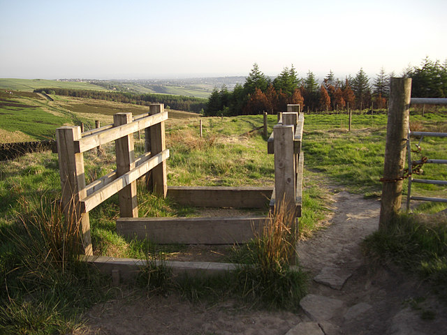 Bridleway stile on Crompton Moor