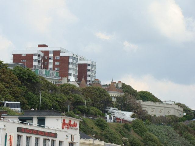 Flats on East Overcliff Drive, viewed from the beach
