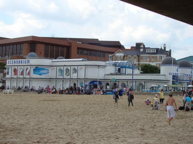 Oceanarium viewed from the beach
