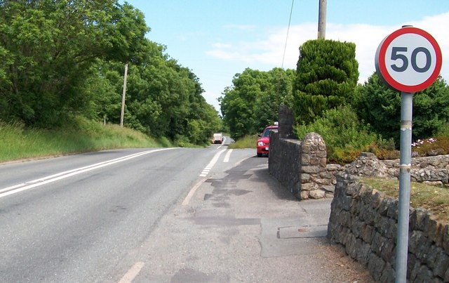 The A499 at the junction with the minor road to Abererch