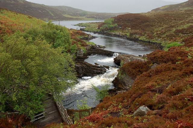 Waterfalls on the outflow from Cam Loch