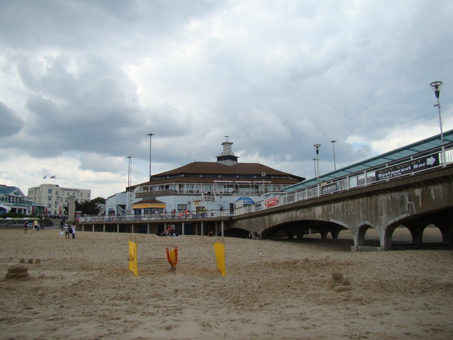 Seafront shops and the end of the pier from the beach